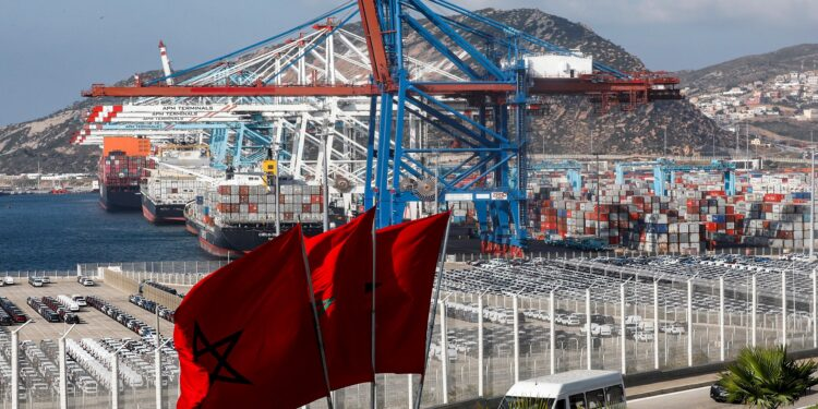 This picture taken on June 28, 2019 shows a view of container cranes at terminal I of the Tanger Med port in the northern city of Tangiers on the Strait of Gibraltar. (Photo by - / AFP)        (Photo credit should read -/AFP/Getty Images)